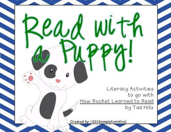 """Read with a Puppy! {Common Core activities for """"How Rocket Learned to Read""""}"""