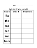 Read, write & decorate Dolch sight words