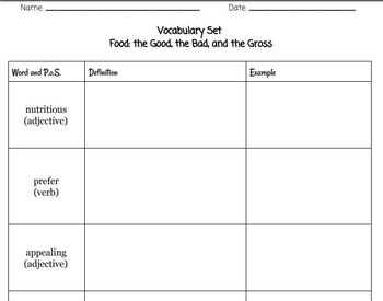 Read180 Stage A, Food: The Good, the Bad, and the Gross VOCAB QUIZ & ORGANIZER