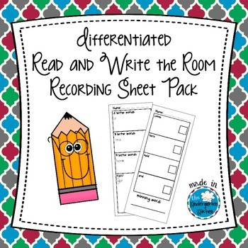 Differentiated Read and Write the Room Recording Sheet Pack