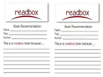 Readbox Book Recommendations