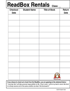Readbox Book Sign Out Sheet