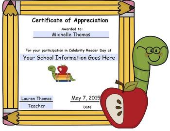 Celebrity/Community Reader Day Certificate (editable)
