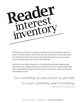 Reader Interest Inventory: 6-12