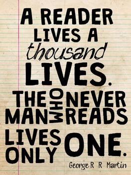 Reader Lives A Thousand Lives Poster 18x24