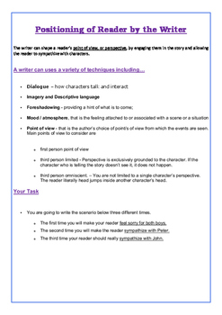 Reader Positioning Creative Writing Task