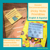 Reader Recommendation Sticky Note Printables