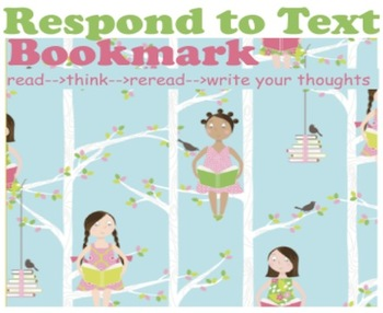 Reader Response Activity {Respond to Text Bookmark with Pe