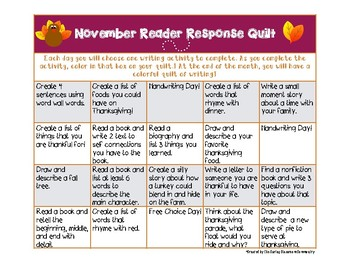 Always Updating- September to May Reading & Writing Quilt 2016