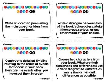 Reader Response Cards (Intermediate Grades)