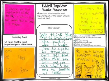 Reading Response Collaborative Activity for Primary Grades - Stick-It Together