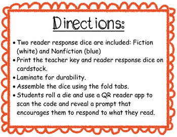 Reader Response Dice with QR Codes
