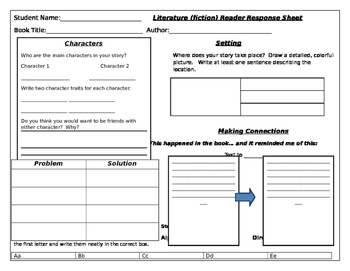 Reader Response and Word Work Graphic Organizers