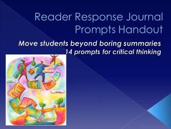 Reader Response Journal Prompts Handout