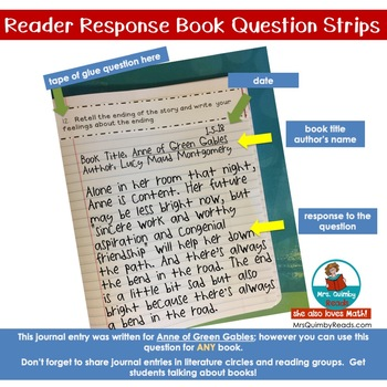 Reader Response Journals - Comprehension Question Strips - [For ANY Book]