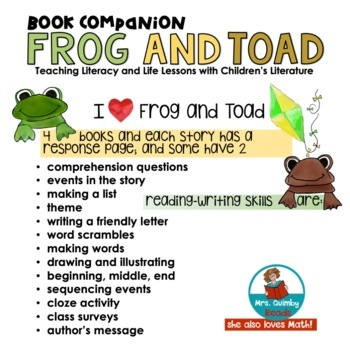 Frog and Toad -(Literacy Instruction)- Reader Response Pages -Writing Prompts