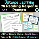 78 Reading Response Journal Prompts - Literary Response - Distance Learning
