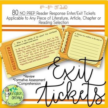 Exit Tickets: 80 Reader Response Questions-Ready to Print