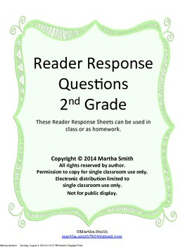 Reader Response Questions - Fiction