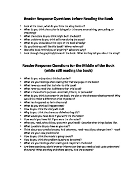 Reader Response Questions for Any Novel