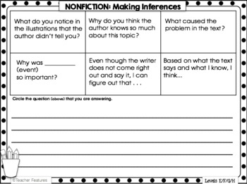 Reader Response Sheets for Guided Reading Comprehension Levels E, F, G, H
