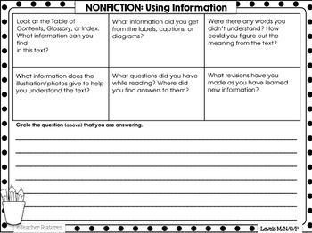 Reader Response Sheets for Guided Reading Comprehension Levels M, N, O & P