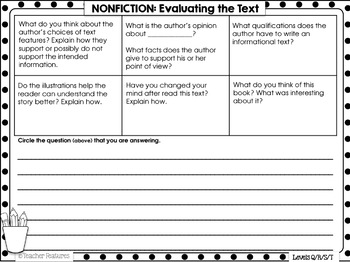Reader Response Sheets for Guided Reading Comprehension Levels Q, R, S & T