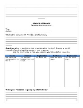 Reader Response - Templates & Support