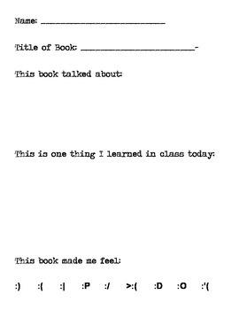 Reader Response Worksheet