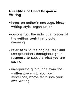 Reader Response Writing Suggestions Overhead