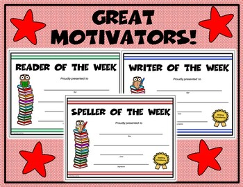 Reader, Speller, Writer of the Week Certificate Set - Editable