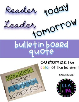 Reader Today Leader Tomorrow bulletin board quote