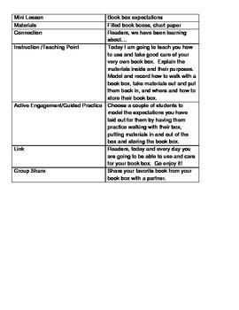 Reader Workshop Book Box Expectations