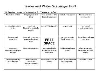 Reader and Writer Scavenger Hunt