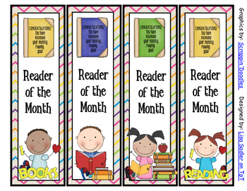 Reader of the Month Bookmarks - 4 Designs
