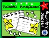 Reader of the Week Certificate - Editable