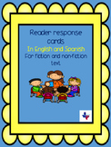 Reader response cards in English and Spanish