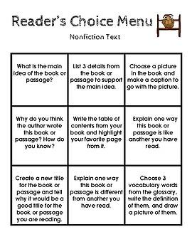 Reader's Choice Menu Nonfiction