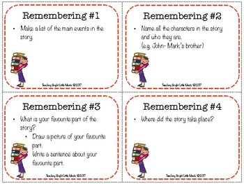 Reader's Circle/ Bloom's Taxonomy Questions and Activities for Reading Cards