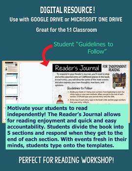 Reader's Journal for Independent Reading - Distance Learning DIGITAL for Google