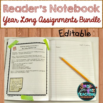Reader's Notebook Assignments: Year Long Growing Bundle