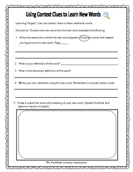 Reader's Notebook Comprehension Activities for the Middle Grades