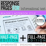 Reading Response Pages for Informational Text *HALF-PAGE & FULL-PAGE*