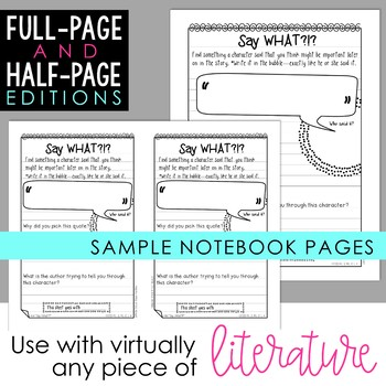 Reader's Notebook Response Pages for Literature *HALF-PAGE & FULL-PAGE*
