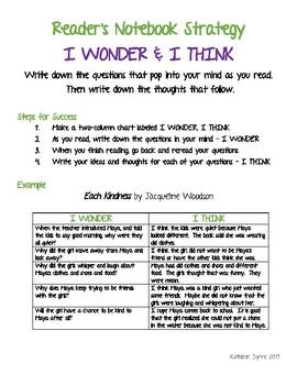 Reader's Notebook Strategy - I Wonder & I Think