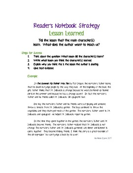 Reader's Notebook Strategy - Lesson Learned