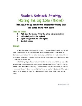 Reader's Notebook Strategy - Naming the Big Idea