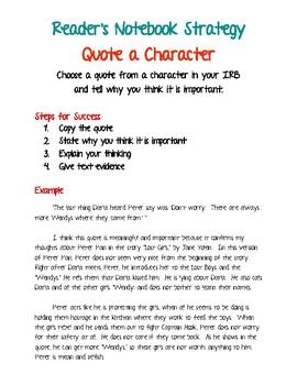 Reader's Notebook Strategy - Quote a Character