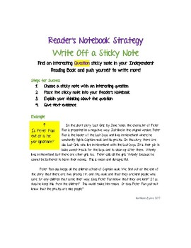 Reader's Notebook Strategy - Write Off a Sticky Note- Question