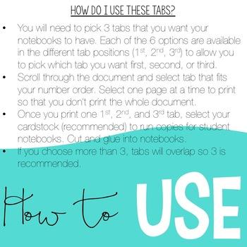 Reader's Notebook Tabs